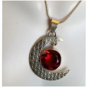 "5ct Red Fire Garnet Crescent Moon Pendant 1 1/4"""